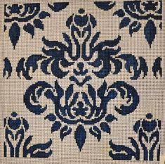 Cream Navy Damask Small by Associated Talents Design Size: 9 Needlepoint Kits, Needlepoint Canvases, Pixel Crochet, Shawl Patterns, Damask, Needlework, Cross Stitch, Arts And Crafts, Kids Rugs
