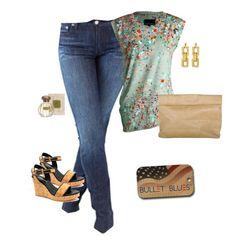 """Confetti Time"" by bulletblues on Polyvore www.bulletbluesca.com #MadeinUSA #BulletBlues #jeans #CynthiaRowley"