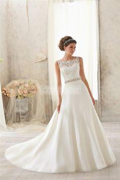 Satin,lace Natural Waist A-line Scoop Chapel Train V-back Wedding Dress