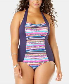Anne Cole Plus Size Retro-Braid One-Piece Swimsuit - Multi Plus Size Bikini Bottoms, Women's Plus Size Swimwear, Trendy Swimwear, One Piece Swimwear, One Piece Swimsuit, Curvy Swimwear, Plus Size One Piece, Plus Size Activewear, Latest Fashion For Women