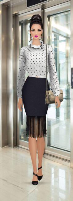"Covet Fashion Game ""Work Quirk"" Styling Challenge Styling by: Candy Eckart ☮★ DiamondB! Fashion Dress Up Games, Covet Fashion Games, Skirt Fashion, Fashion Dresses, Fashion Face, Cute Fashion, Fashion Show, Fashion Design, Moda Fashion"