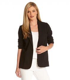 Ruched Sleeve Jacket-Black-XS