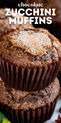 Looking for an easy muffin recipe? Make these Chocolate Zucchini Muffins! They are moist and filled with zucchini and chocolate. Kids love these! Zucchini Muffin Recipes, Healthy Muffin Recipes, Healthy Breads, Tasty Snacks, Healthy Muffins For Kids, Healthy Banana Muffins, Chocolate Zucchini Muffins, Chocolate Chip Oatmeal, Cheesecake Recipes