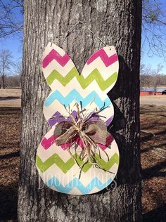 Chevron Easter Bunny Door Hanger by DoOdLeDotsAnDmOre on Etsy, $30.00