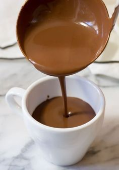 This French Hot Chocolate Recipe is the perfect after dinner drink for your Valentine's Day feast. This simple French Hot Chocolate Recipe, AKA Drinking Chocolate, is a Parisian favorite and a must-make for Valentine's Day! French Hot Chocolate Recipe, Hot Chocolate Bars, Hot Chocolate Recipes, Chocolate Chocolate, Chocolate Smoothies, Chocolate Shakeology, Chocolate Crinkles, Chocolate Roulade, Christmas Hot Chocolate