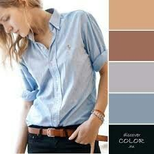 Dusty blue, black and browns Colour Combinations Fashion, Color Combinations For Clothes, Fashion Colours, Colorful Fashion, Color Combos, Color Schemes, Color Harmony, Color Balance, Style Casual