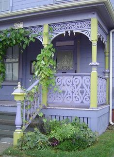 Custom Front Porch Beautiful purple / lavender porch with Victorian queen anne woodwork embellishments