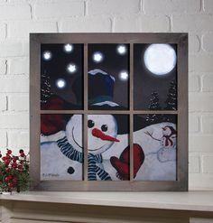 Lighted Snow Happy Frame Canvas