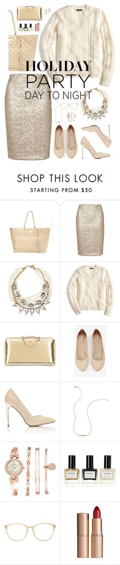 """day to night: holiday edition."" by tothineownselfbtrue ❤ liked on Polyvore featuring BCBGMAXAZRIA, Dorothy Perkins, Lulu Frost, J.Crew, Chloé, Express, Miss Selfridge, Wish by Amanda Rose, Anne Klein and Balmain"