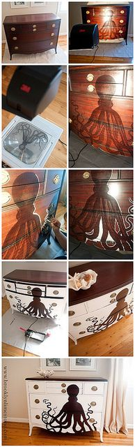 AWESOME idea! So cool! could also just use stain to paint in the image on the transparency or both!! or use one of the many transfer techniques to paint the dresser solid and transfer the etching over top of it.. so many version of this - love the octo tho! Definitely prefer just a different stain than the white!