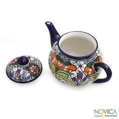 Novica Ceramic 'Guanajuato Flora' Talavera Tea Pot