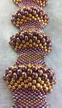 Beaded Bracelet Handwoven Gorgeous Handwoven Miyuki Peyote Stitched Covex/Concave Purple and Gold Beaded Bracelet. Made with Love.