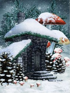 Illustration about Winter scenery with a fairy cottage, mushrooms and cones. Illustration of mushroom, house, snow - 17646933 Fantasy World, Fantasy Art, Christmas Village Houses, Winter Fairy, Elves And Fairies, Fairy Garden Houses, Fairy Gardens, Christmas Fairy, Fairy Art