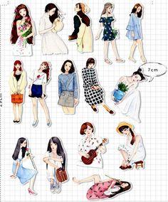 Items similar to Mori Girls Scrapbook Sticker --Filofax Stickers--Planner Stickers on Etsy Ideas Scrapbook, Scrapbook Stickers, Journal Stickers, Planner Stickers, Printable Stickers, Cartoon Stickers, Cute Stickers, Girl Cartoon Characters, Korean Stickers