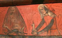 woman (?prostitute) shaves her pubic hair by the light of a candle held by her maid -- detail of painted ceiling at Lagrasse, Dept. Aude, . France, c.1500