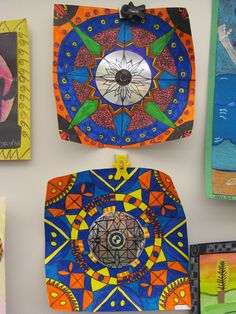 using a CD in center to create Mandala or radial design. Maybe use in 3rd grade