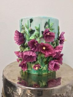 Cake Collab Embroidery Inspired Wafer Paper Florals by Natalie Madison Cake Icing, Fondant Cakes, Eat Cake, Cupcake Cakes, Cupcakes, Wafer Paper Flowers, Wafer Paper Cake, Fabric Flowers, Pretty Cakes