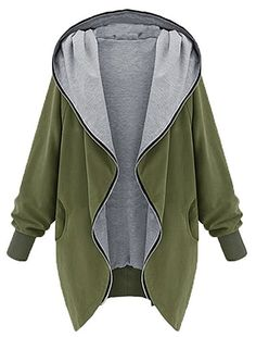 MILEEO Damen Frauen Hoodie Kapuzen Parka Herbst Frauen Parka Hooded Zipper Jacke Cardigan Blazer Mantel Outwear