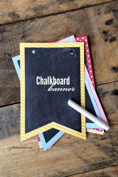 Chalkboard banner to go with chalkboard favors? DIY chalkboard banner -great for every occasion! Crafts For Teens To Make, Diy Projects For Teens, Cool Diy Projects, Camping Crafts, Fun Crafts, Diy And Crafts, Crafts Cheap, Camping Ideas, Chalkboard Banner