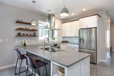Caesarstone Concrete, Concrete Countertops, Kitchen Reno, Kitchen Remodel, Kitchen Ideas, Quartz Slab, Cliff House, Shower Surround, Counter Top