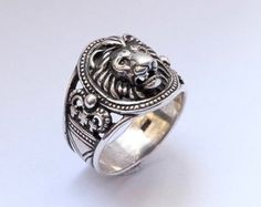 Lion head ring Lion ring for man Ring for man by yurikhromchenko