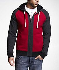 Express Lion Logo Color Blocked Zip-Up Hoodie.