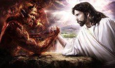 Jesus wrestled with the Devil and WON when He died for our sins and rose into Heaven.  Through faith in Christ we defeat the Devil everytime.