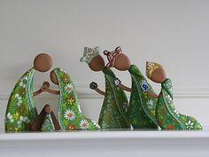 """Cedar wood Nativity Set, 8"""" tall"""