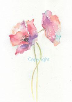 Fine art watercolor painting, flower art, POPPY WATERCOLOR PRINT, giclee print, flower interest 8x10. $18.00, via Etsy.