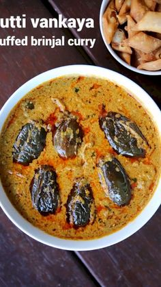gutti vankaya curry recipe, stuffed brinjal curry, gutti vankaya kura or koora with step by step photo/video. spicy curry with eggplant, peanut & coconut. Spicy Curry Recipe, Spicy Recipes, Curry Recipes, Cooking Recipes, Healthy Recipes, Cooking Chef, Cooking Ideas, Fall Recipes, Summer Recipes