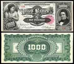 Large denominations of United States currency 1000 Dollar Bill, Money Template, Money Notes, Silver Certificate, Old Money, World Coins, Rare Coins, Coin Collecting, Thing 1