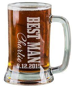 1fc2d38796a 16 Oz Best Man Engraved Beer Mug Wedding Party Gifts for Groomsmen Beer  Glass Etched Engraved