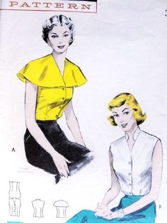 Blouse Pattern Butterick 6135 Sleeveless Blouse Flattering Cape or Rockabilly Stand Up Collar Easy To Sew Bust 32 or 34 Vintage Sewing Pattern UNCUT-Authentic vintage sewing patterns: This is a fabulous original dress making pattern, not a copy Robes Vintage, Blouse Vintage, Vintage Outfits, Vintage Fashion, Classic Fashion, Vintage Clothing, Retro Pattern, Vintage Sewing Patterns, Clothing Patterns