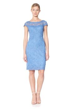 Corded Embroidery on Tulle Dress with Sheer Illusion Neckline