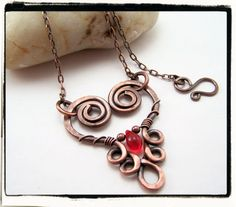 $24.99 Copper Floating Filigree Heart Necklace with Red Czech Teardrop #etsy