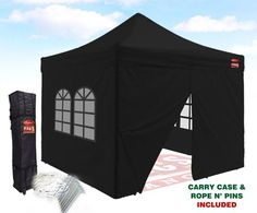 Outlet Tags Canopy  10ftX10ft with 4pc WALLS PopUp Tent for Vendors BBQ Sun Shelter Sports Teams Outdoor Events  Black -- Visit the image link more details.