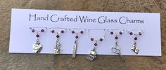 Thank You Teacher Gifts, Wine Glass Charms, Wine Gifts, Birthday Gifts, Christmas Gifts, Charmed, Etsy Shop, Handmade Gifts, Teachers Wine