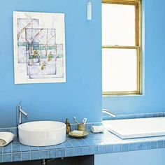 This bath takes its cue from tropical, turquoise waters. Like a splash in the Caribbean Sea, it soothes and invigorates. Bathroom Renos, Budget Bathroom, Bathroom Interior, Bathrooms, Bathroom Ideas, Tropical Bathroom, Tropical Decor, Bathroom Colors Blue, Turquoise Water