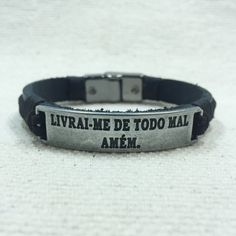 Pulseira Masculina Couro Livrai-me De Todo O Mal Amém mens bracelets fashion cocar brasil