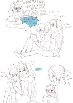 I draw a lot of stuff. I do a long RWBY Fan-Manga call Henceforward AU. Rwby Fanart, Rwby Anime, Anime Girlxgirl, Yuri Anime, Kawaii Anime, Cute Lesbian Couples, Anime Couples, Rose Tumblr, Rwby White Rose