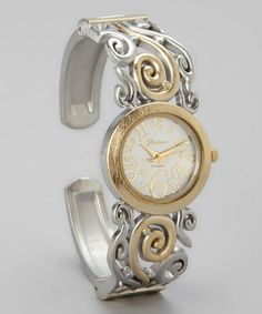 Look what I found on #zulily! Silver & Gold Two-Tone Swirl Bangle Watch #zulilyfinds