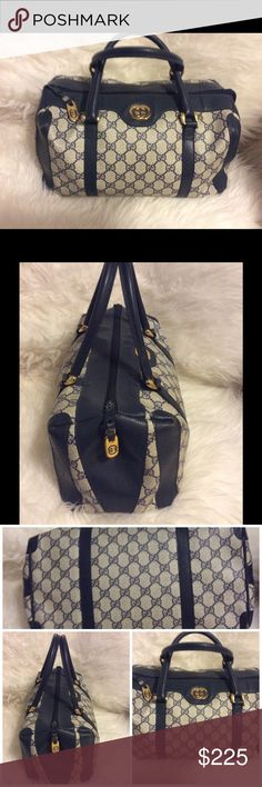 Gucci blue satchel Very nice and spacious Gucci monogram satchel with gold tone Gucci logo  missing the lining. Price reduced no trade Gucci Bags Satchels