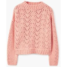 Open Work-Detail Sweater (£40) ❤ liked on Polyvore featuring tops, sweaters, oversized chunky cable knit sweater, long sleeve tops, over sized sweaters, chunky cable knit sweater and cable sweaters