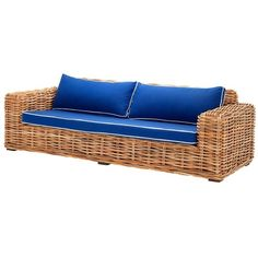 Eichholtz Foster Sofa Natural Rattan ($2,430) ❤ liked on Polyvore featuring home, furniture, sofas, blue, woven furniture, colored furniture, eichholtz, rattan sofa and expandable furniture