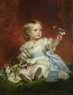 [I love her blue sash and matching blue shoes.]  Victoria, Princess Royal. Portrait by Franz Xaver Winterhalter, 1842.