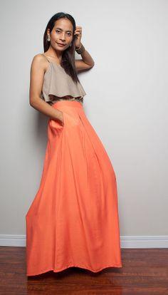 Burgandy and Orange Maxi Skirt by DigginHerRoots on Etsy | etsy ...