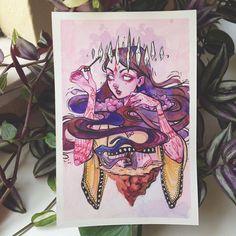 """Vision"" ✨ Ink, watercolour, gouache, and Prismacolor pencils.  #art #artsy #arte #artist #artnerd #artwork #artoftheday #witch #pagan #vision #occult #audraauclair #watercolor #watercolour #crystal #gouache #prismacolor #ink"