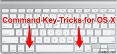 The Mac command key, sitting alongside the spacebar and containing that funky looking icon logo, is commonly used for initiating keyboard shortcuts throughout OS X. But that command key also has so… Macbook Pro Tips, Apple Macbook Pro, Macbook Air, Apple Mac Computer, Apple Computers, Computer Shortcut Keys, Computer Tips, Keyboard Commands, Mac Tips