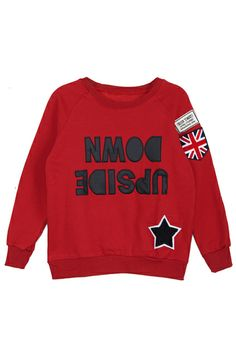 Literal. British. //// ROMWE | Reversed Letters Applique Long-sleeved Red Sweatshirt, The Latest Street Fashion