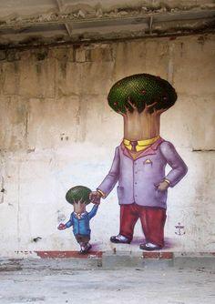Une sélection des créations du street-artist ukrainienKislow, basé àSébastopol. Un univers surréaliste et coloré, à la fois doux et poétique, mais